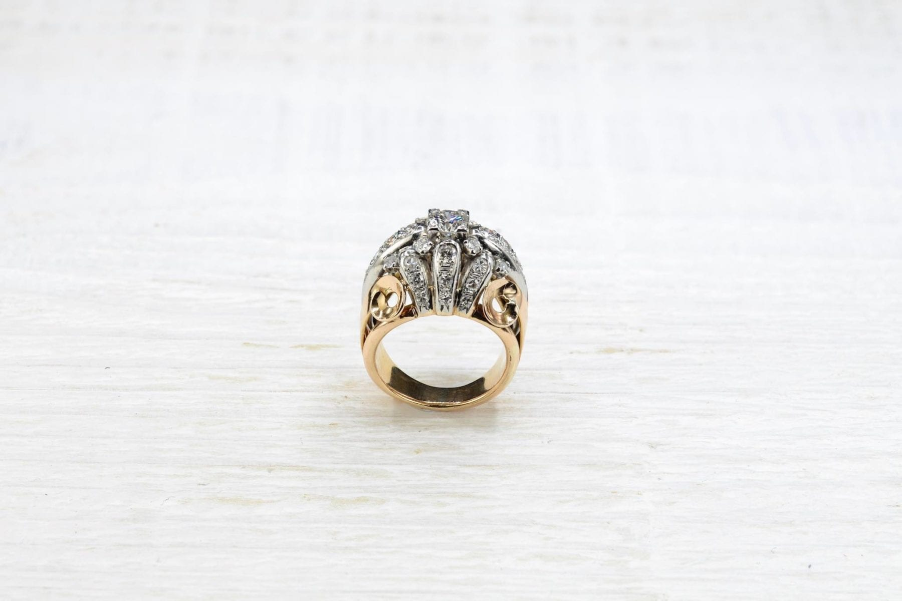 Bague 1950 or diamants