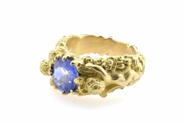 Bague saphir en or jaune 18k