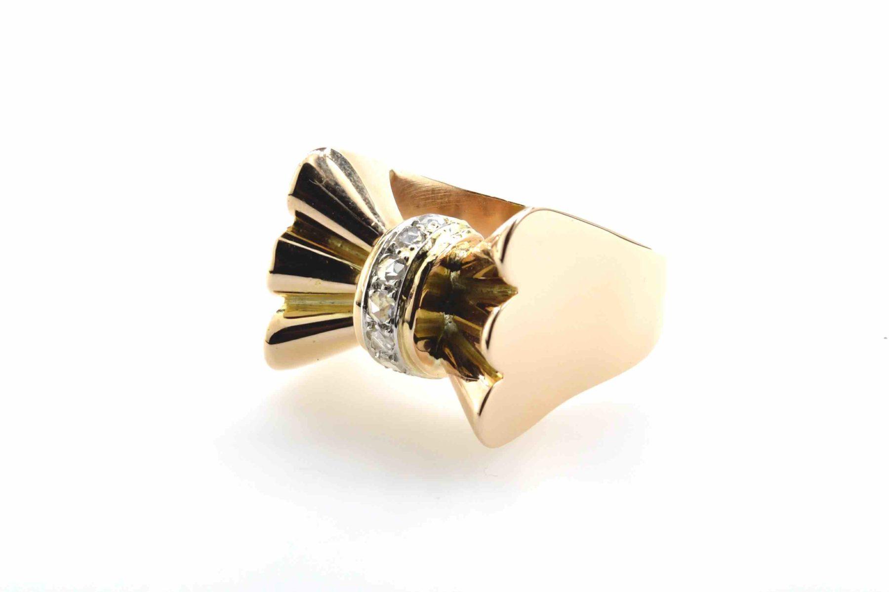 Bague Tank roses de diamant en or jaune 18k
