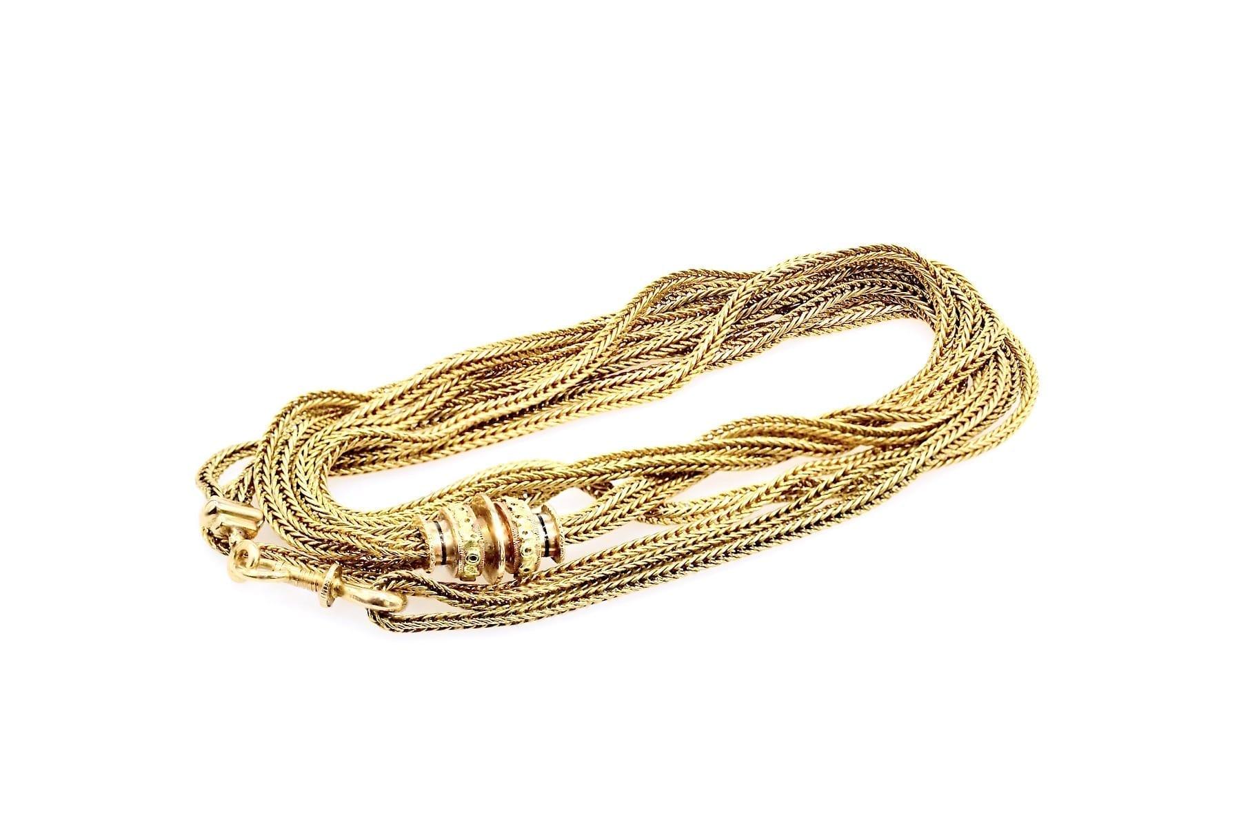 chaîne ancienne en or jaune 18k