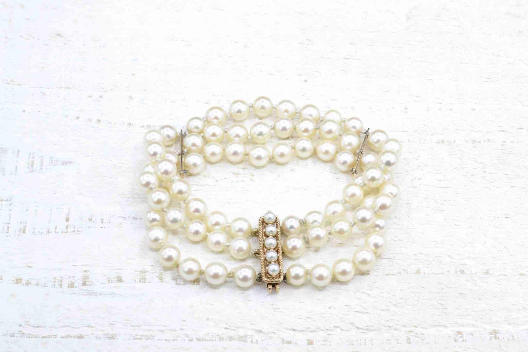 Bracelet perles en or jaune 18k