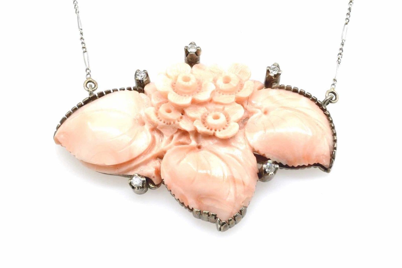 pendentif ancien en or 18k corail et diamants
