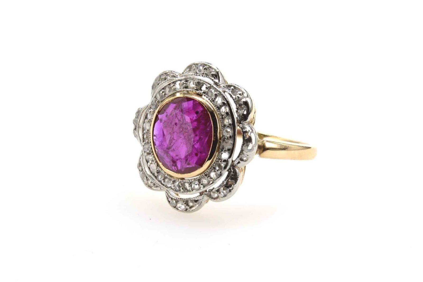 bague 1900 fleur rubis et diamants