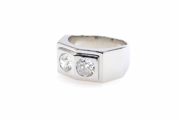 Chevalière diamants des années 40