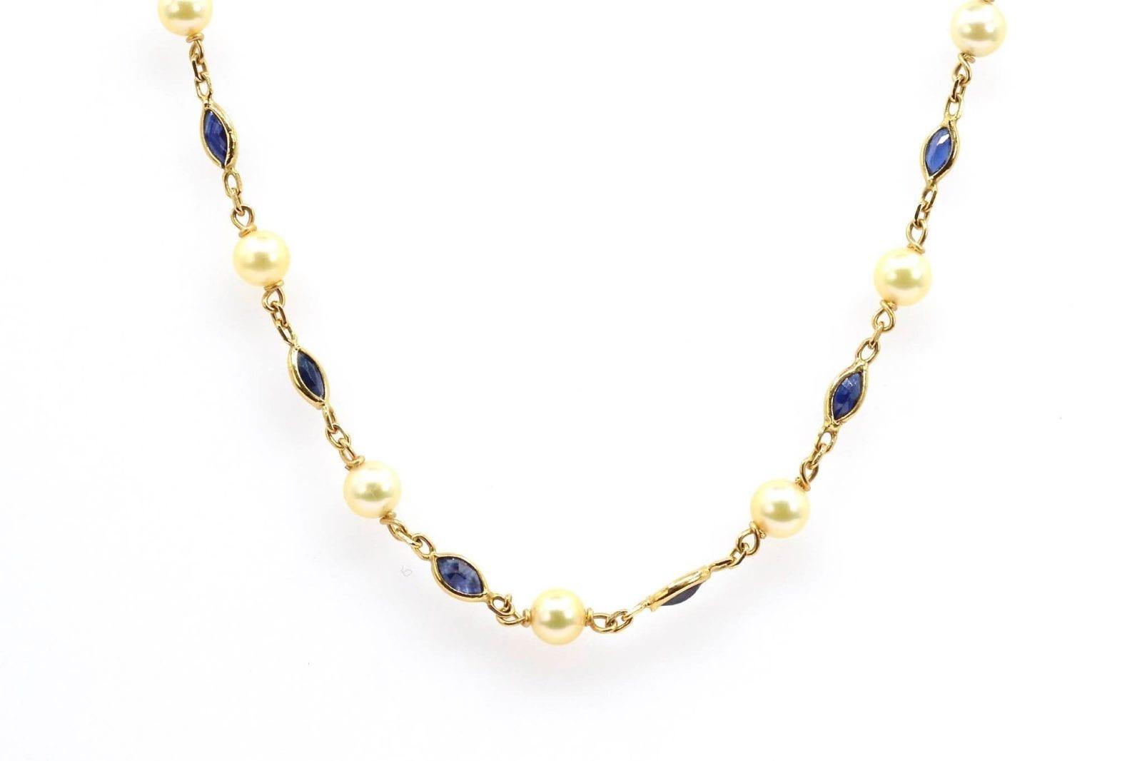 collier vintage saphirs et perles