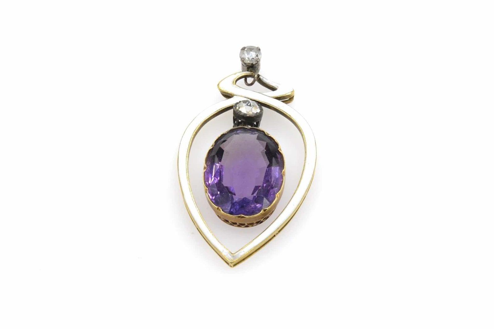 pendentif Art nouveau diamants et améthyste