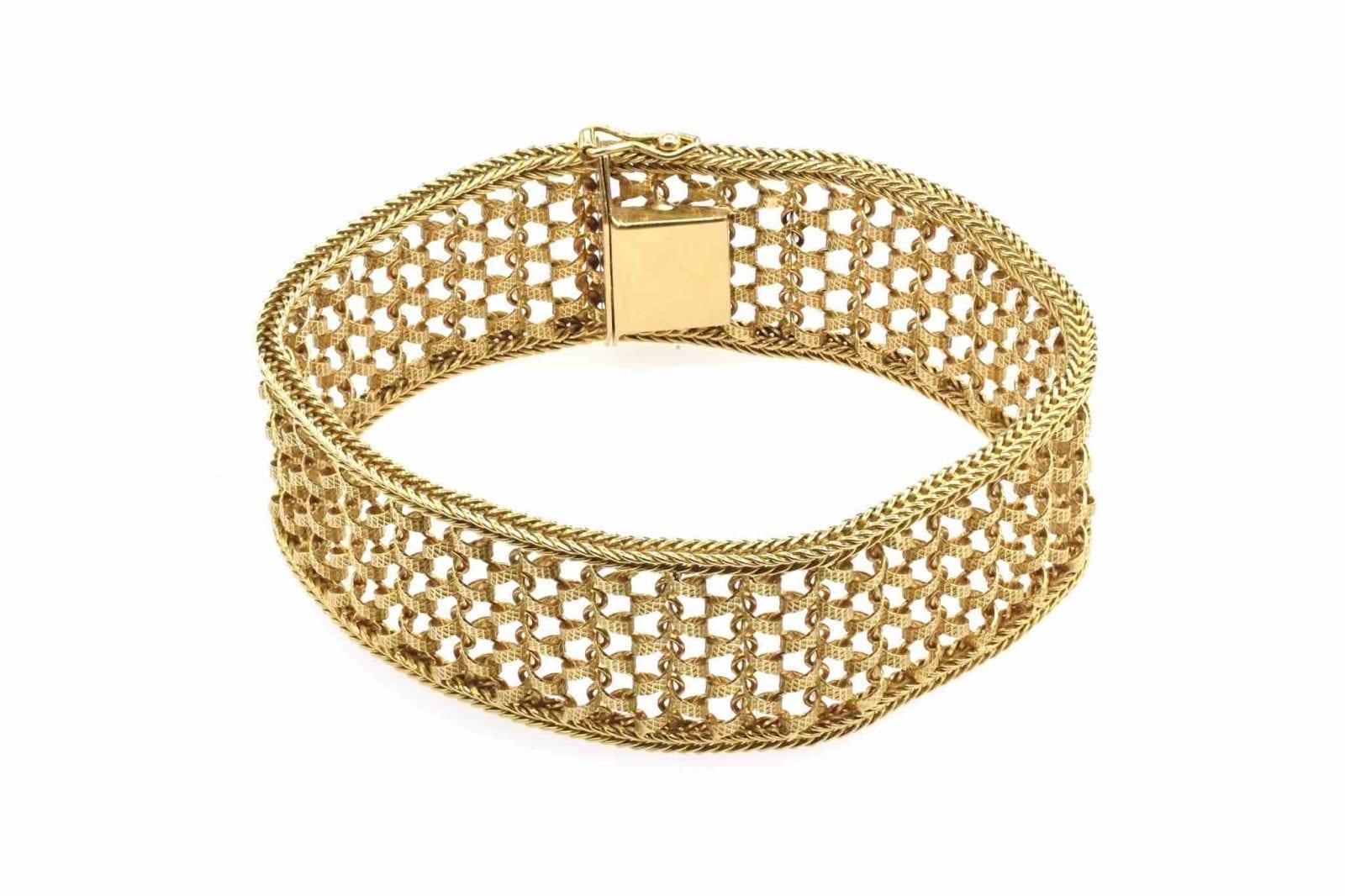 bracelet manchette or jaune 18k