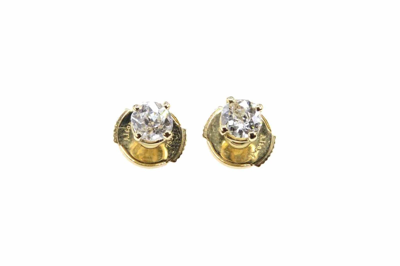 Boucles d'oreilles diamants en or jaune 18k