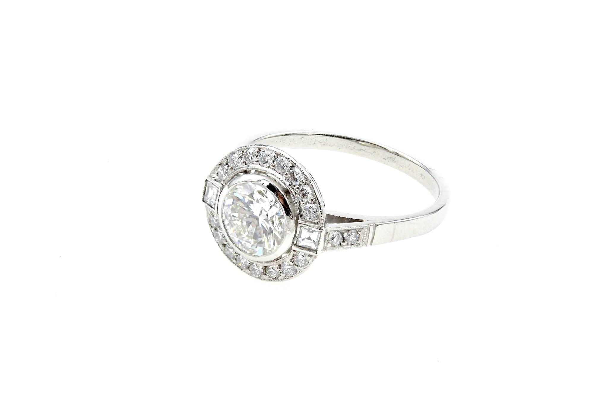 Bague ronde Art Déco diamant en platine