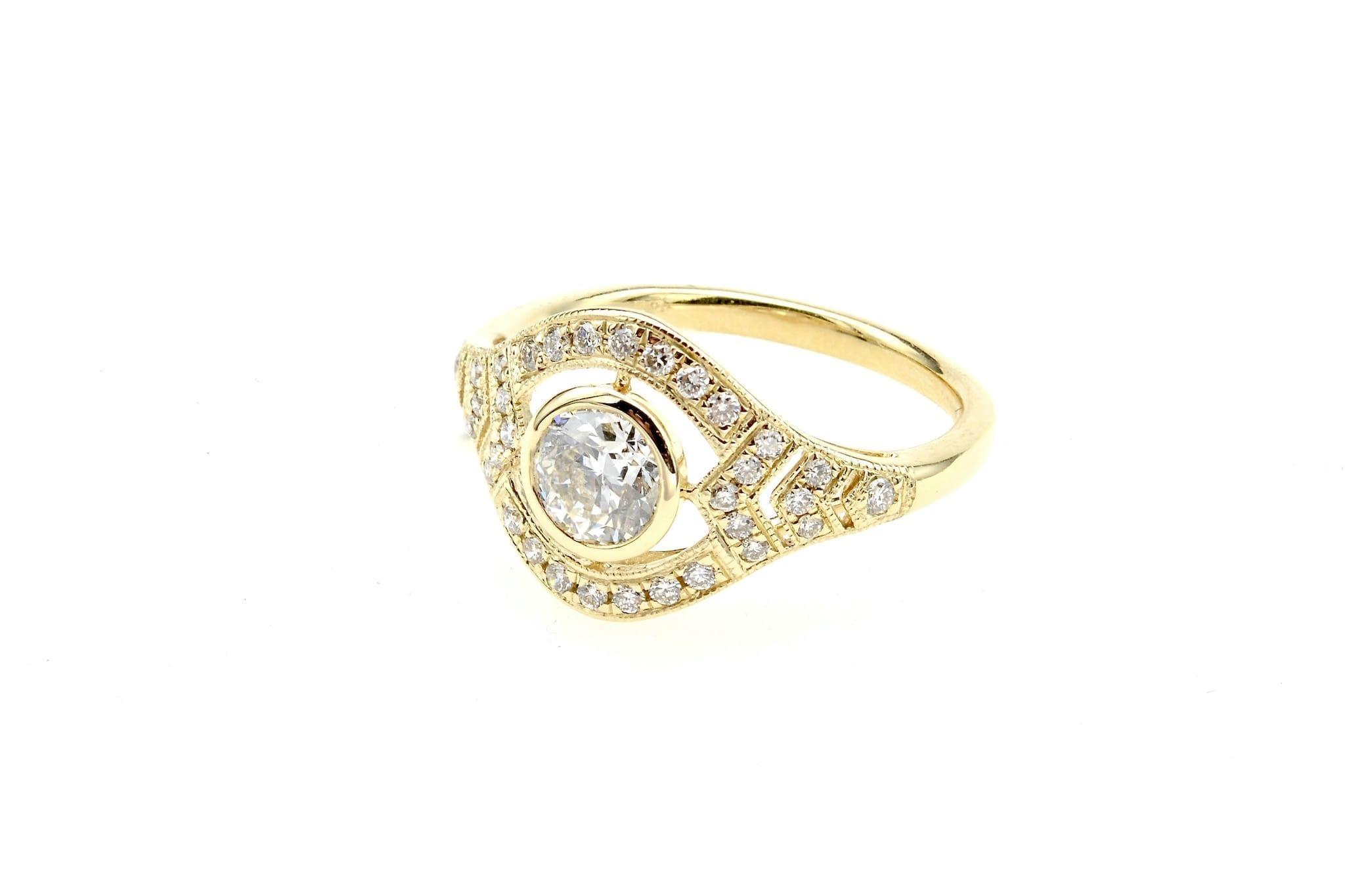 Bague diamant bandeau en or jaune 18k