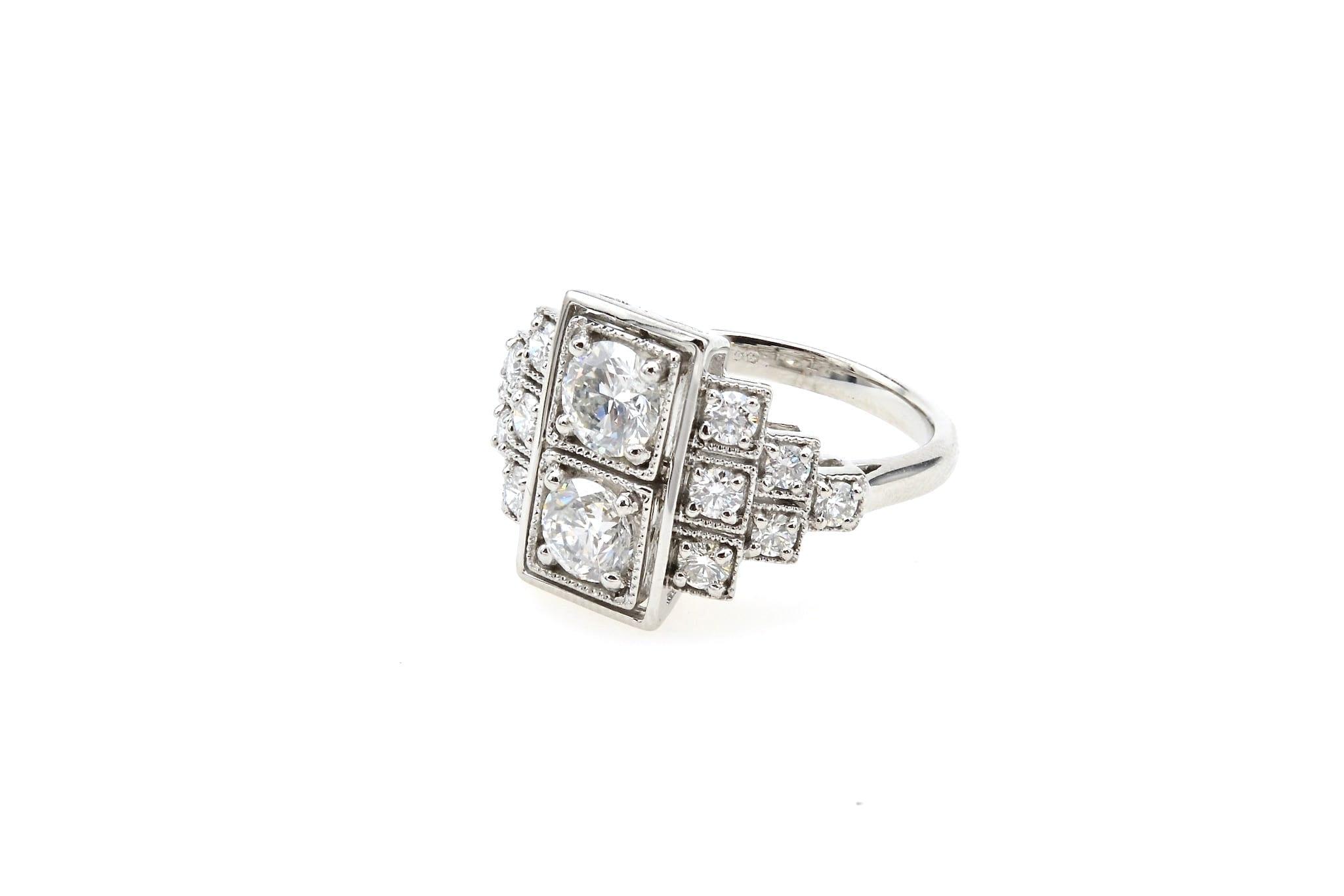 Bague diamants de style Art Déco en or blanc 18k