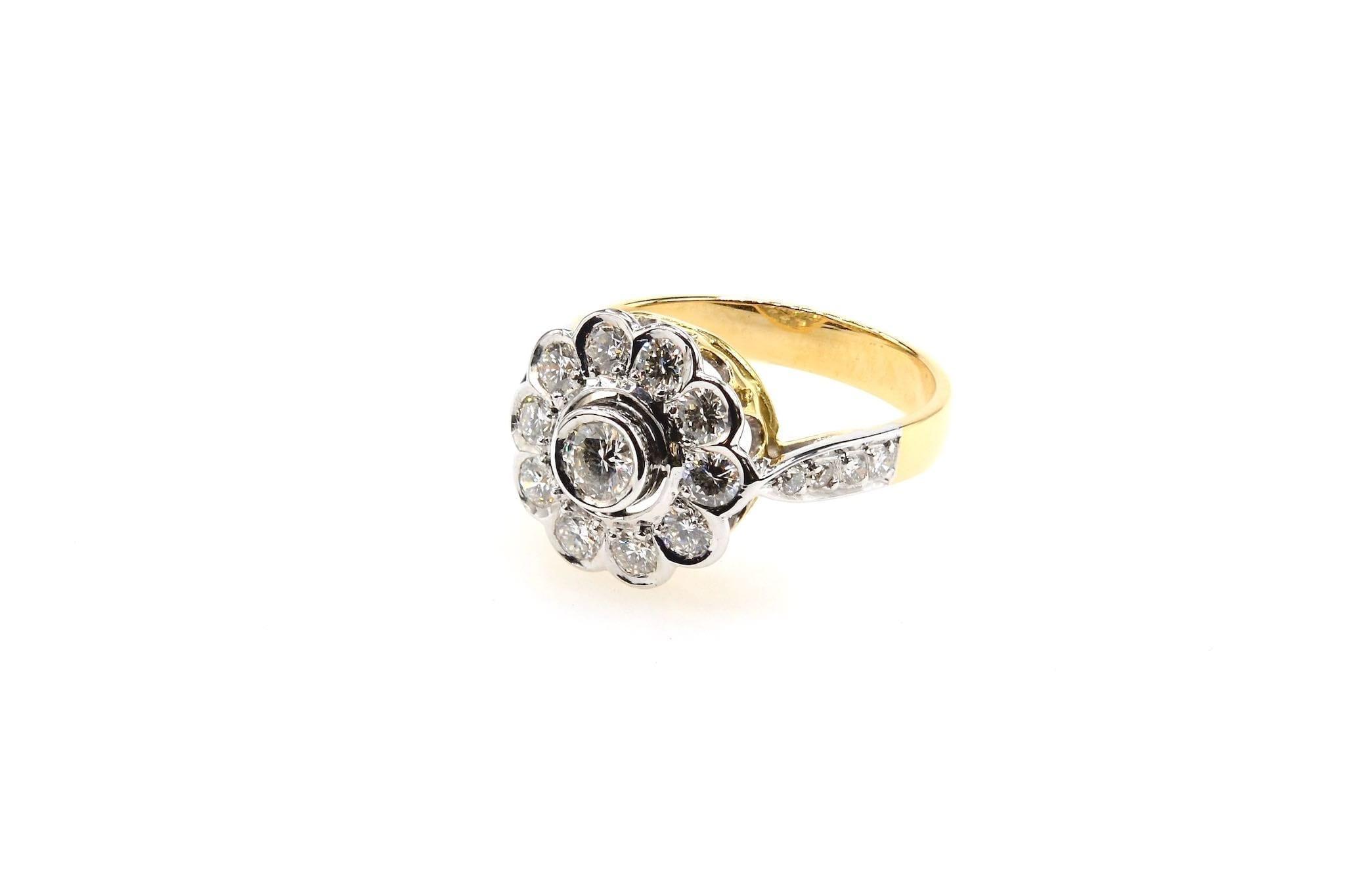 bague marguerite diamants en or 18k