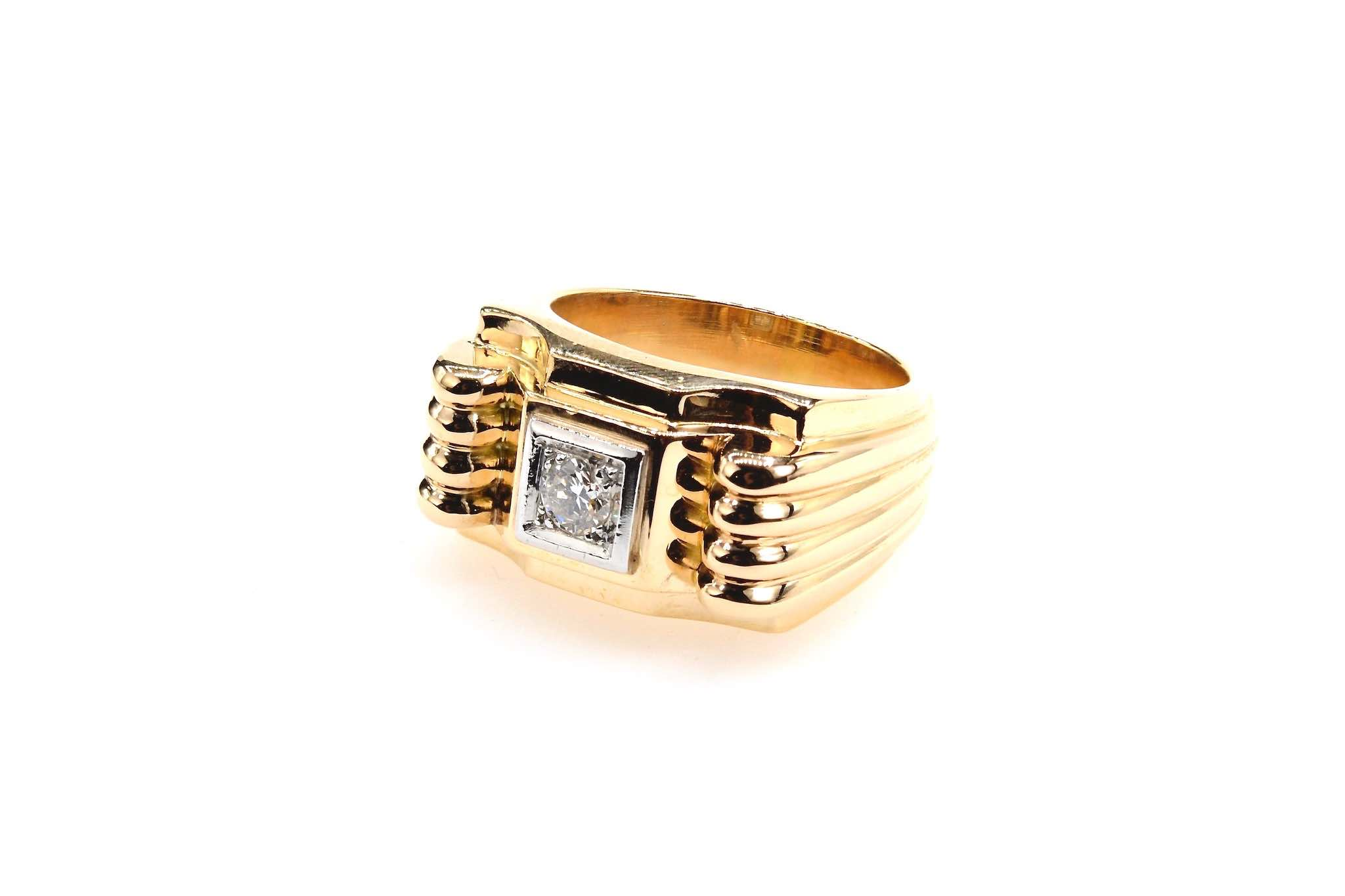 bague 1940 diamant en or jaune 18k