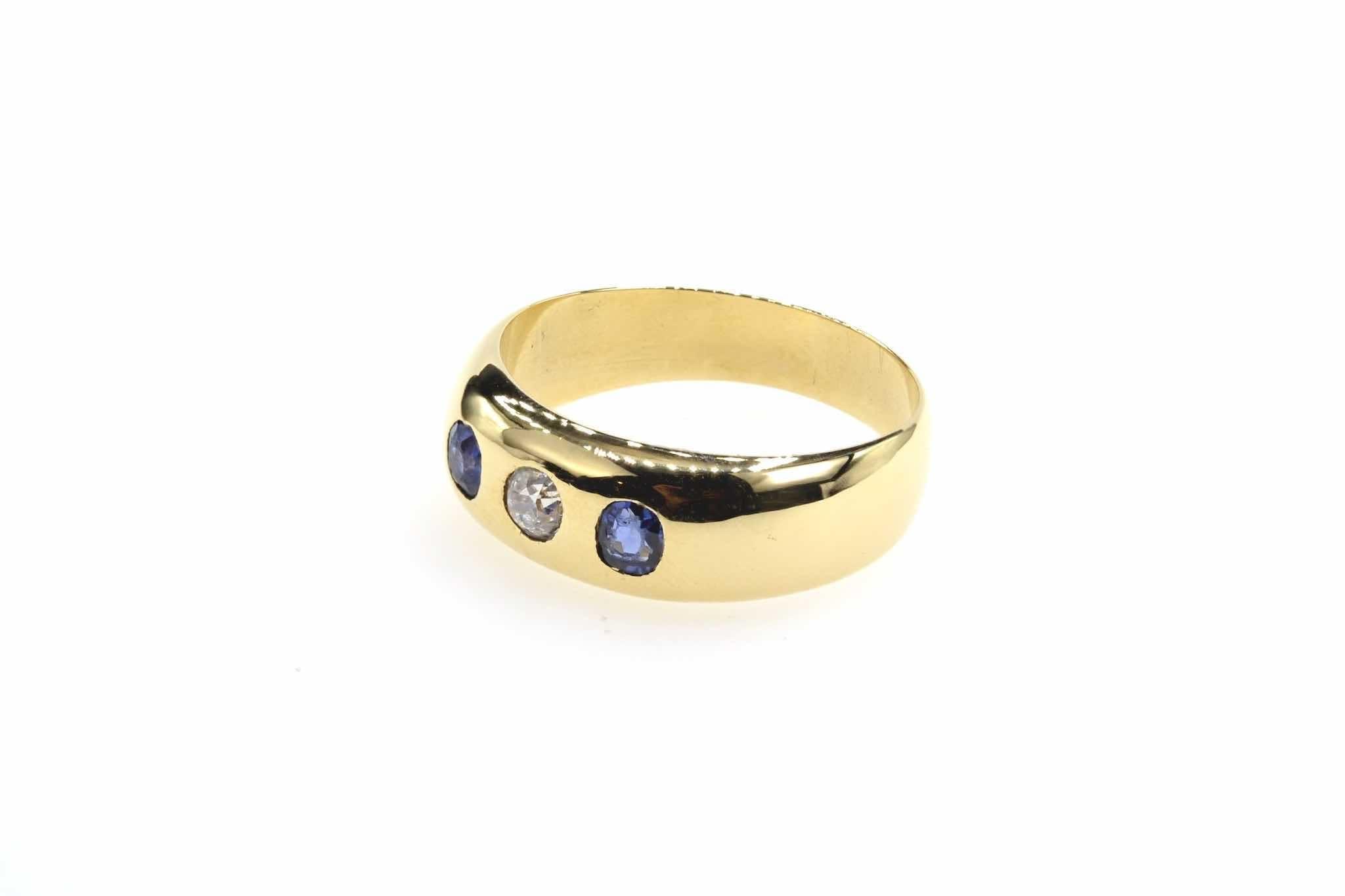 bague saphirs et diamant en or jaune 18k