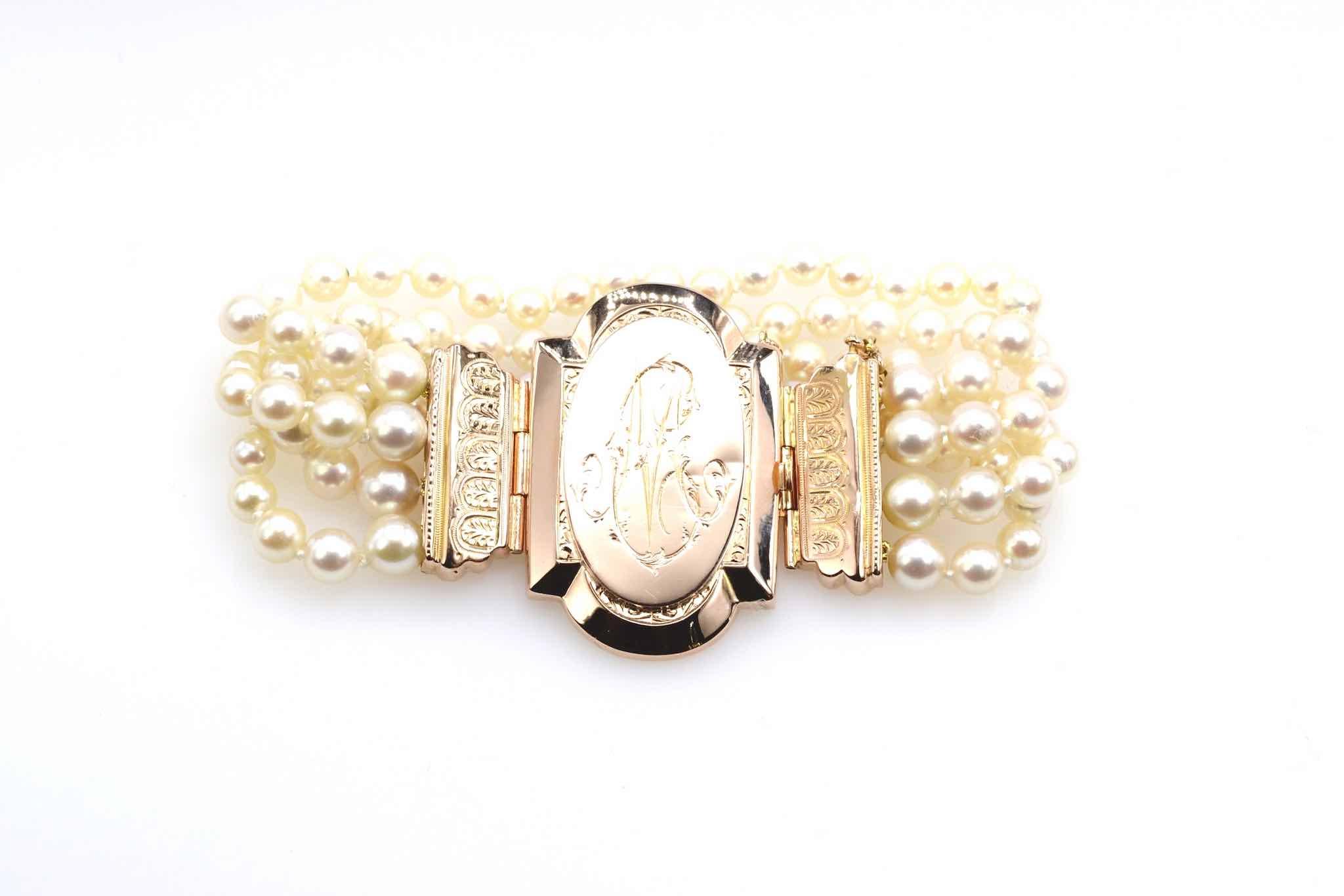 Bracelet perles fermoir 19e