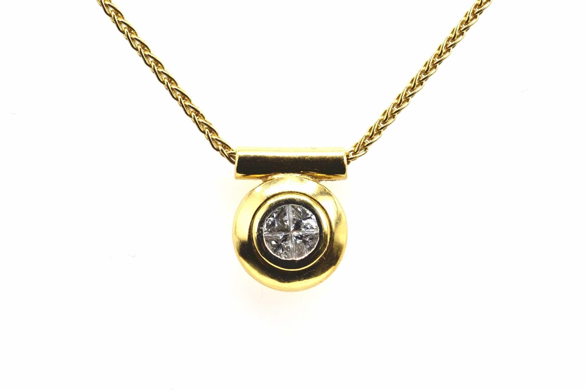 Pendentif diamants en or jaune 18k