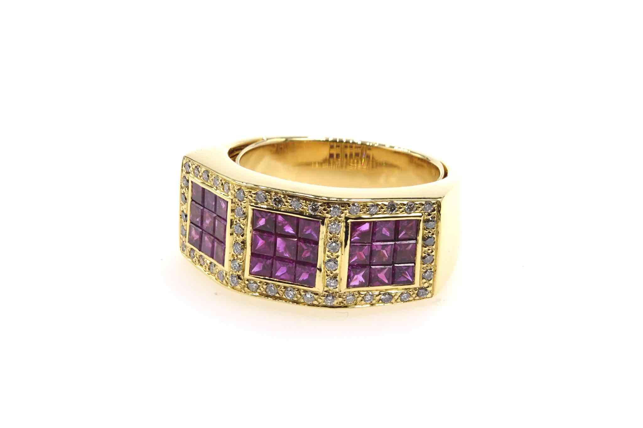 bague rubis et diamants en or jaune 18k