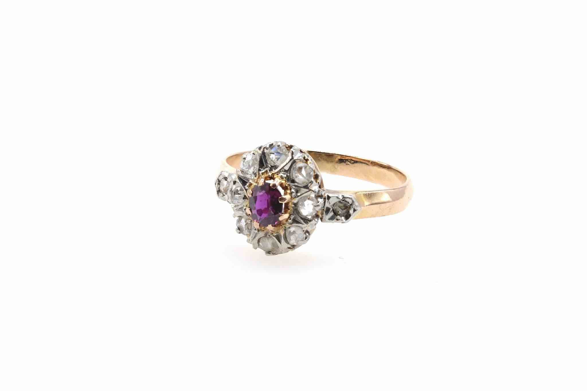 bague 19e rubis et diamants en or jaune 18k