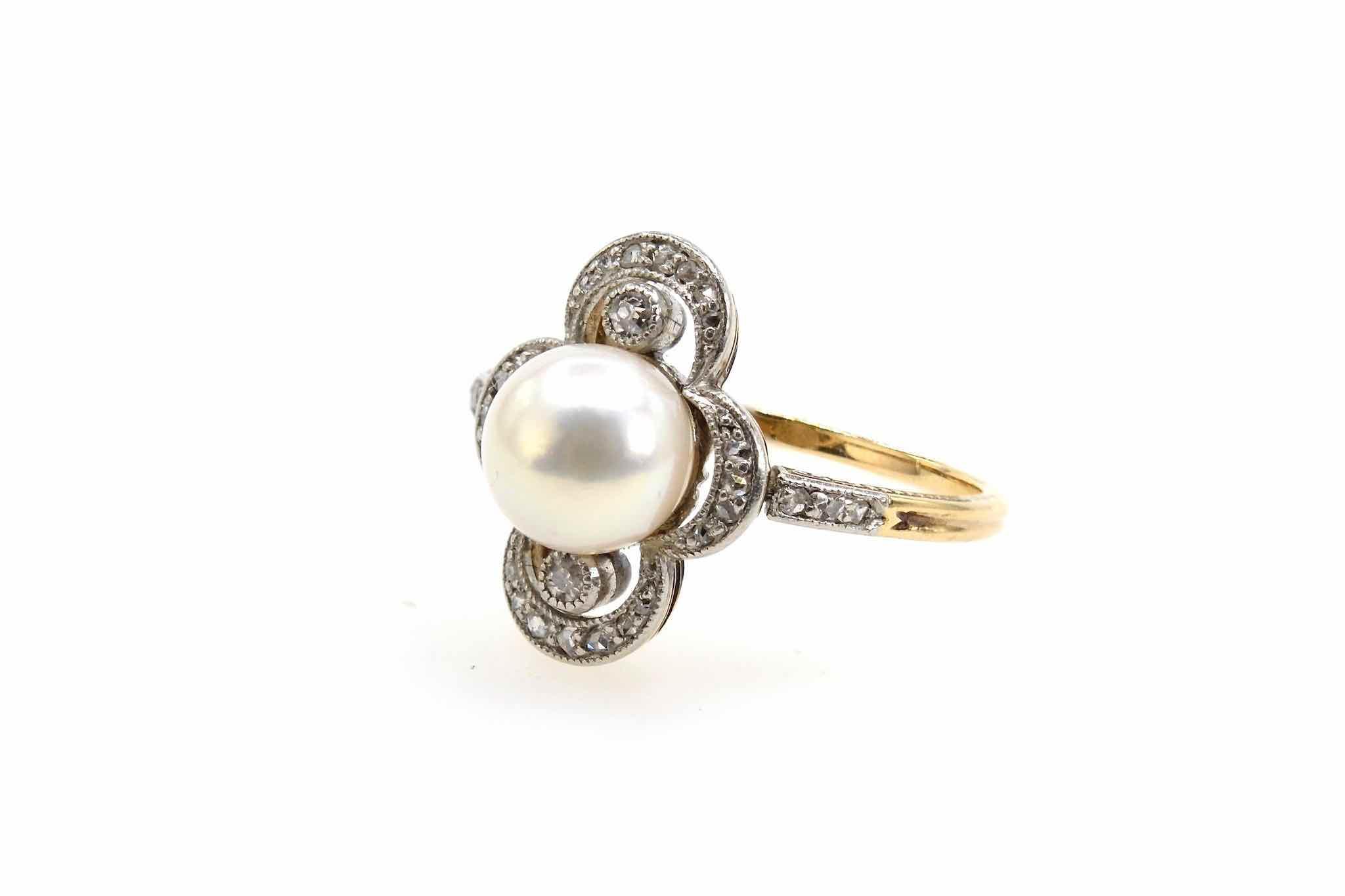 Bague 1900 perle et diamants en or jaune 18k et platine