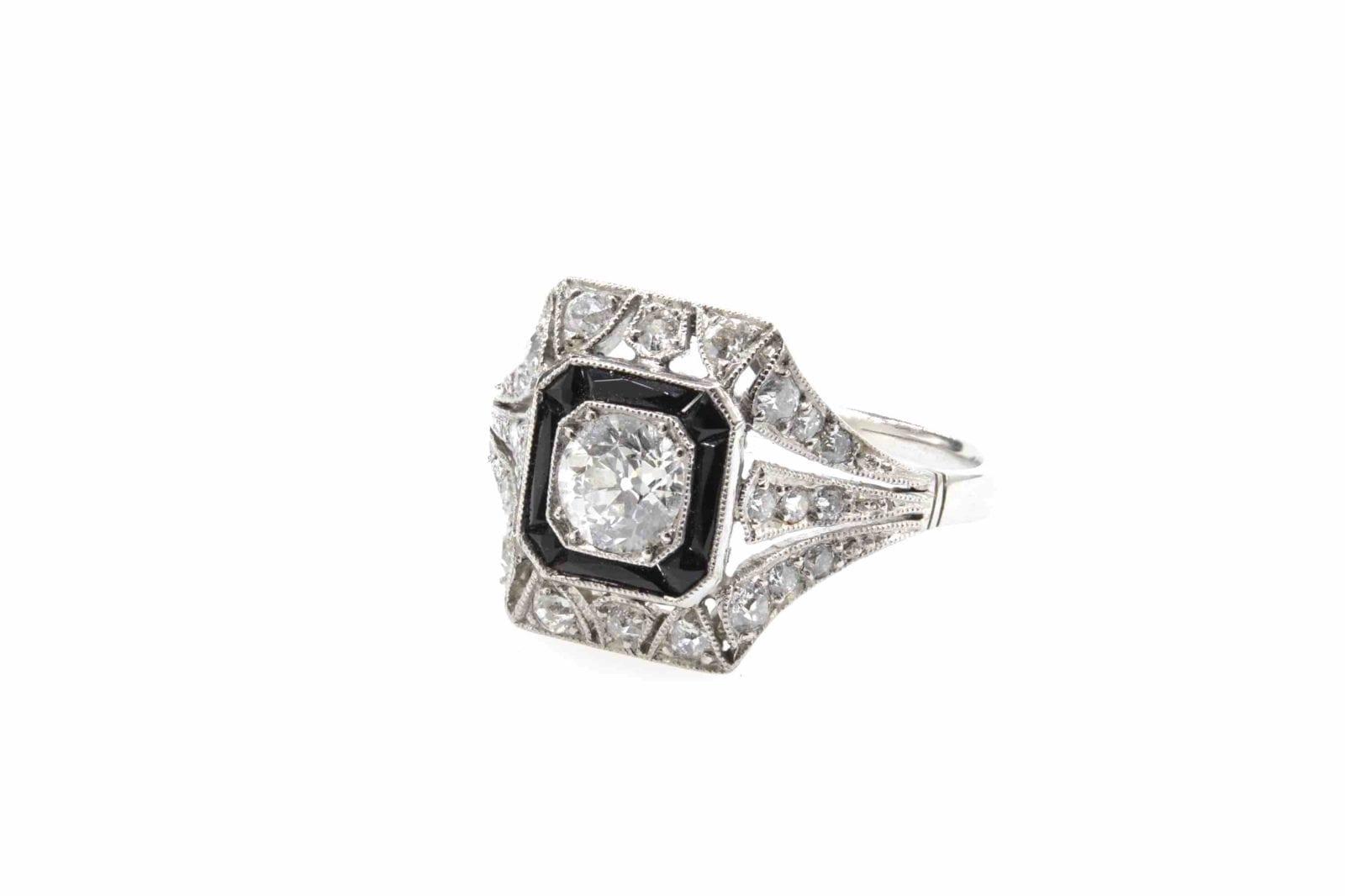 bague vintage onyx diamants