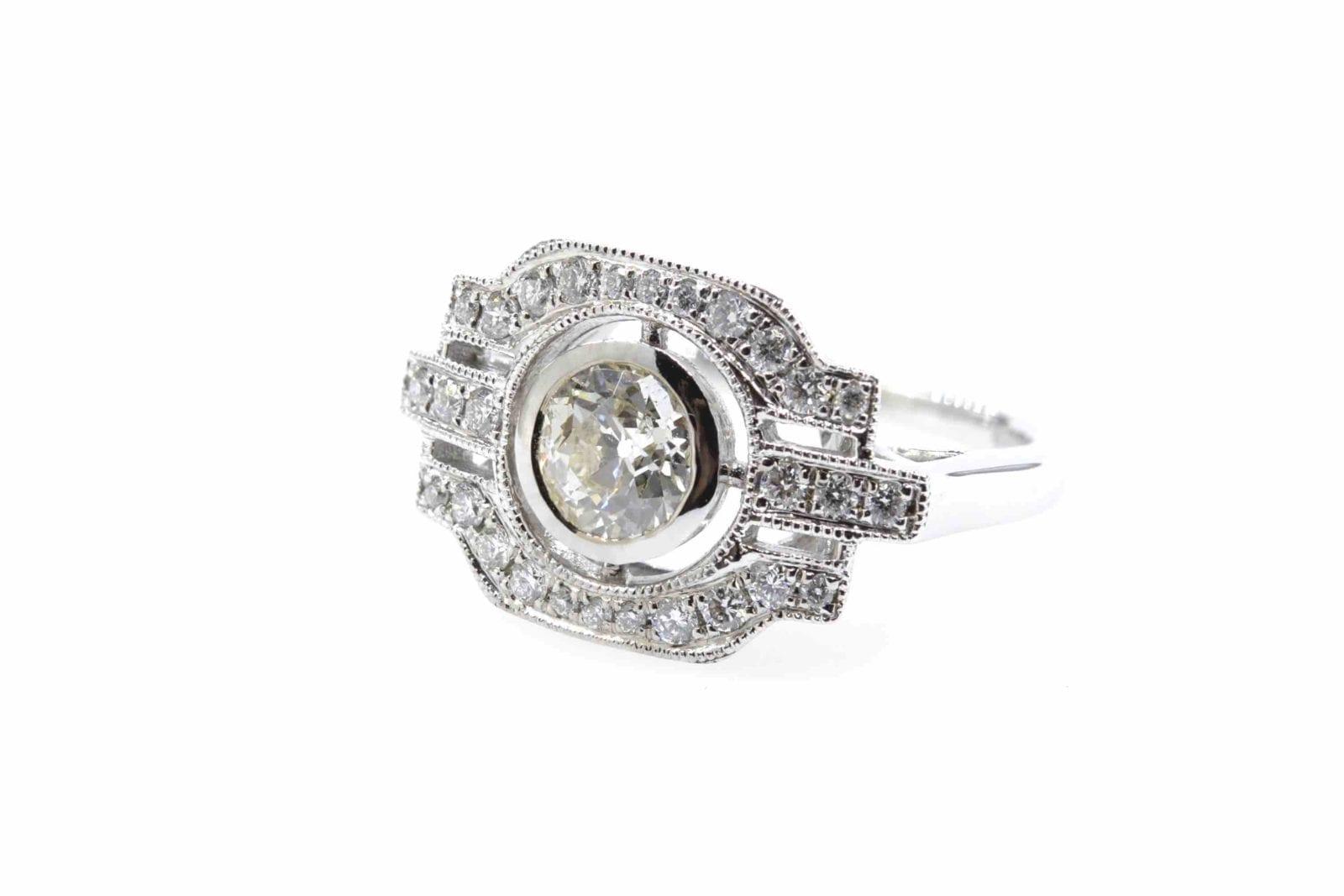 bague de style vintage diamants en or blanc 18k