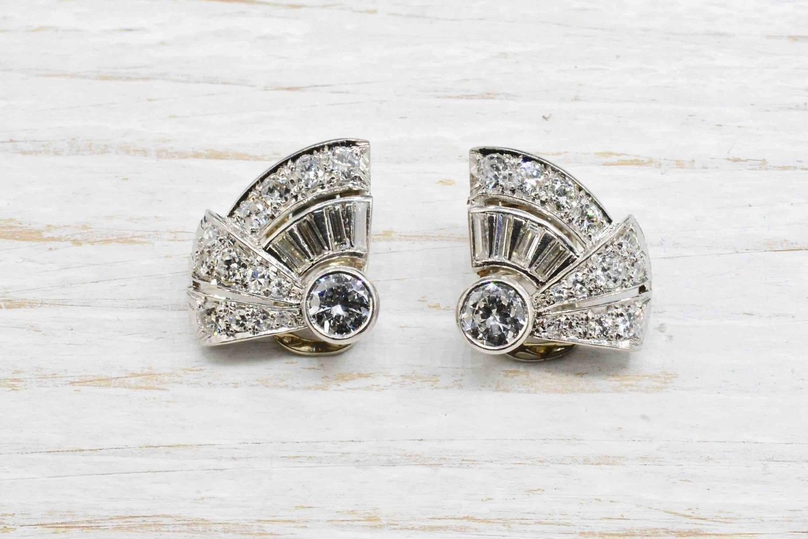 boucles d'oreilles 1930 diamants en platine