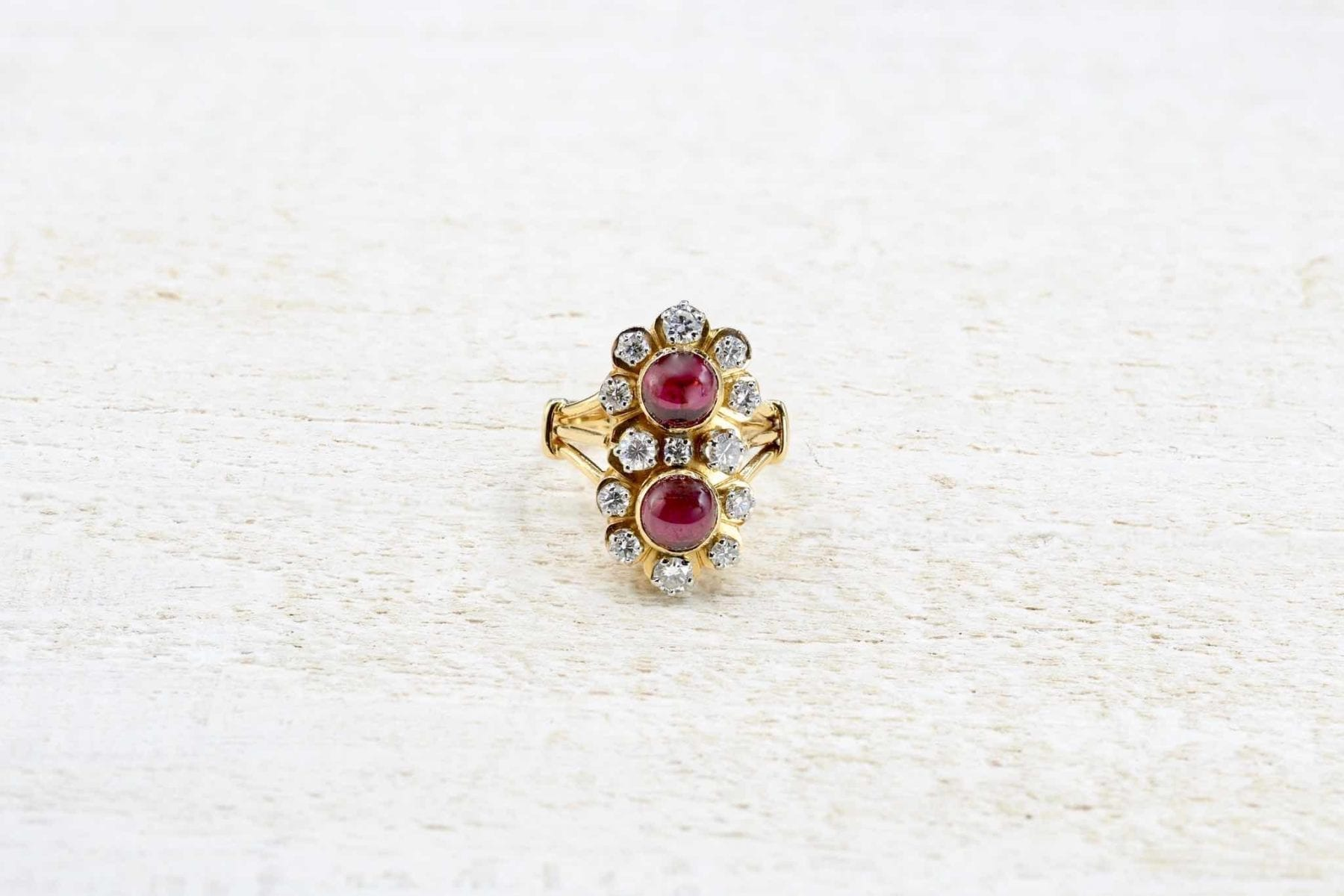 bague vintage grenat diamants