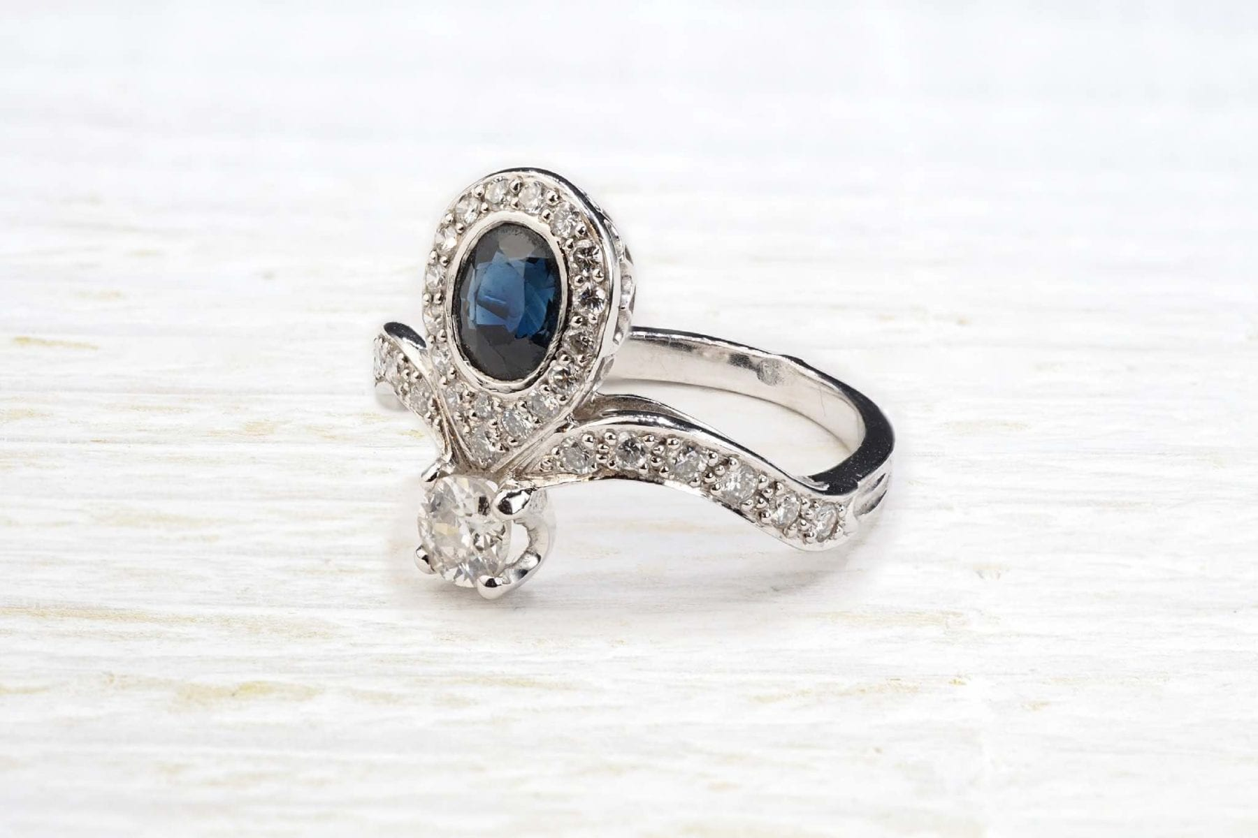 bague saphir diamants ancienne