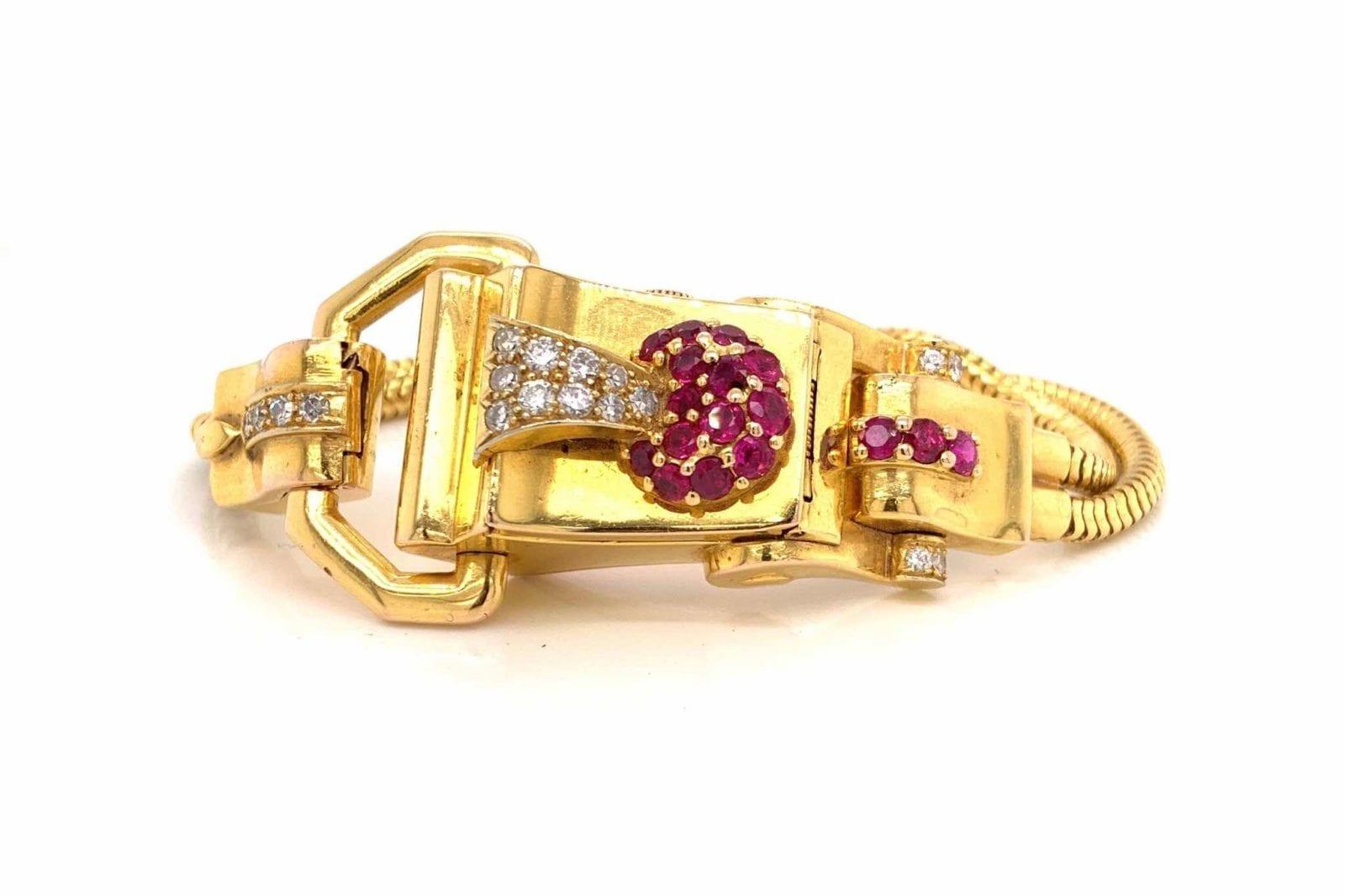 Montre ancienne or rubis et diamants