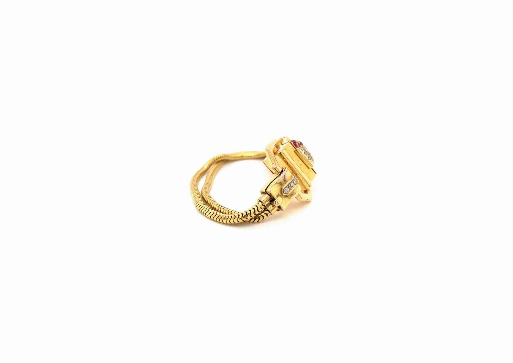 Montre ancienne or rubis et diamants or jaune 18k