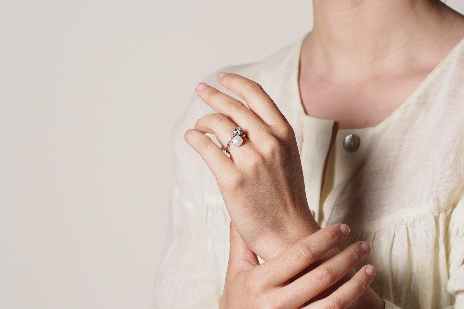 bague ancienne perle diamants