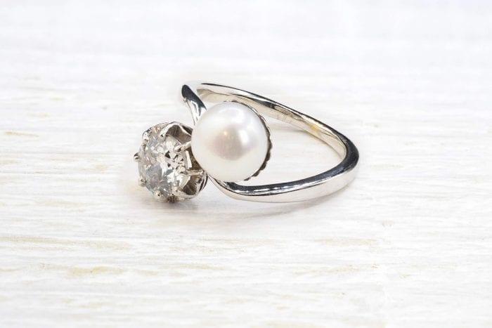 Bague ancienne perle et diamant