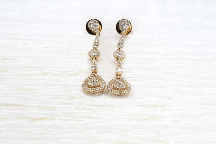 Boucles d'oreilles diamants en or rose