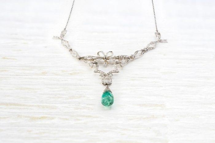 Collier émeraude et diamants des années 1900