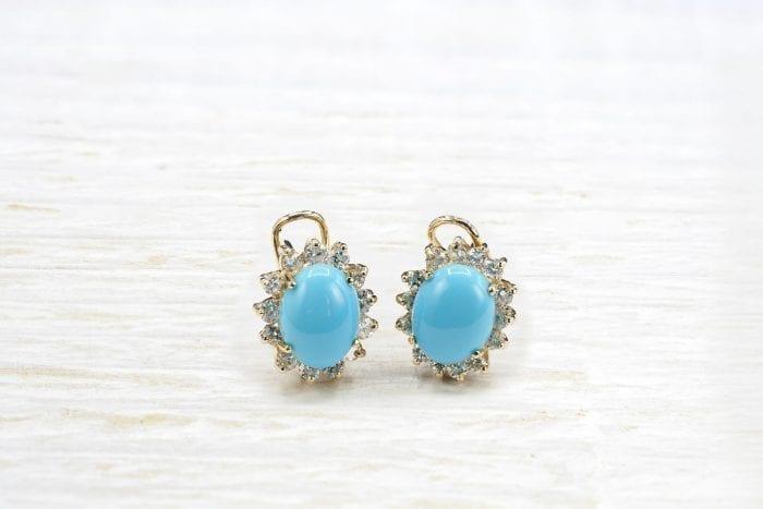 Boucles d'oreilles turquoises et diamants en or jaune 18k