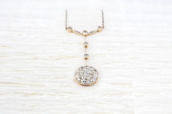 Pendentif diamants en or et platine