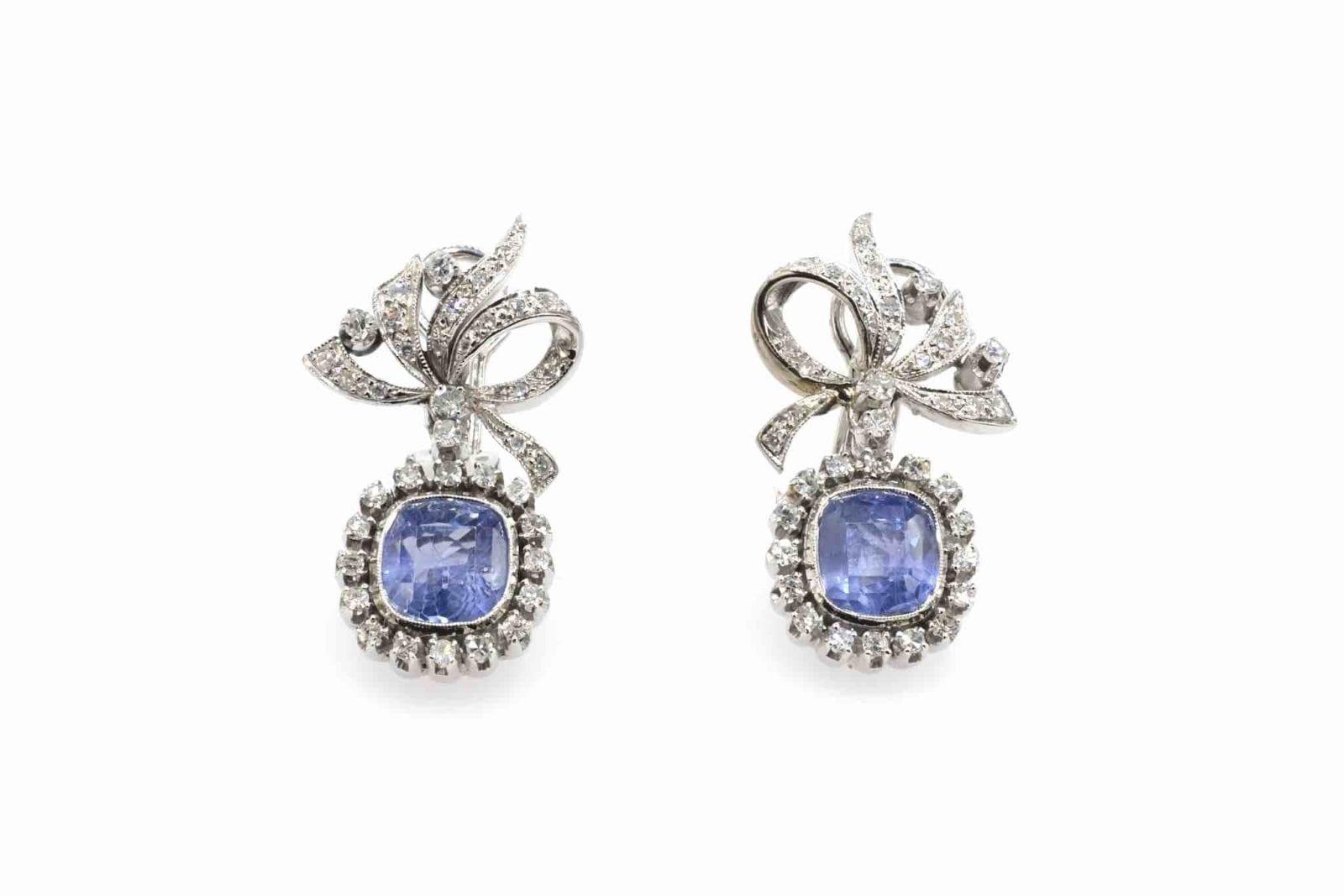 boucles d'oreilles diamants et saphirs