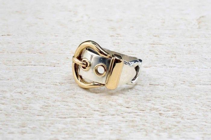 Bague Hermès argent et or jaune 18k