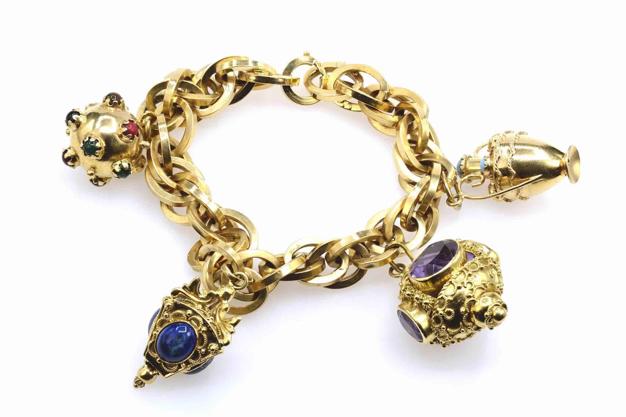 bracelet breloques en or jaune 18k