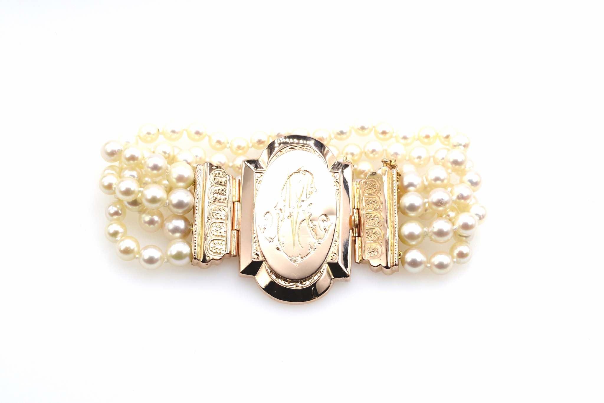 Bracelet 3 rangs de perles et fermoir ancien