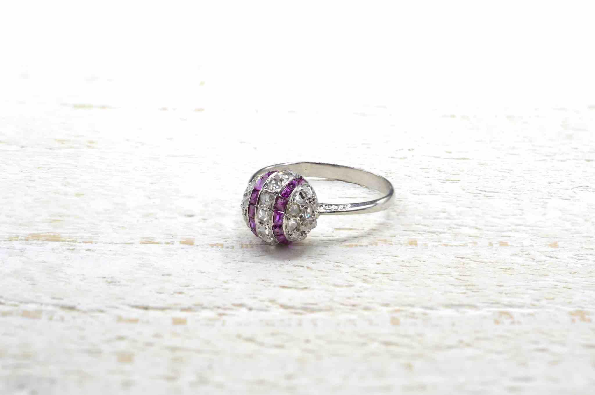 Bague occasion boule diamants et rubis