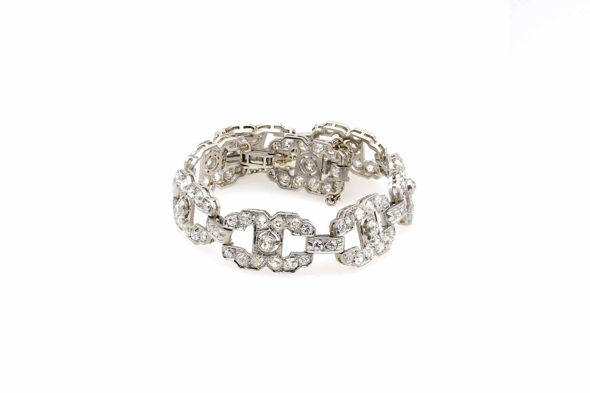 Bracelet 1930 serti de diamants en platine