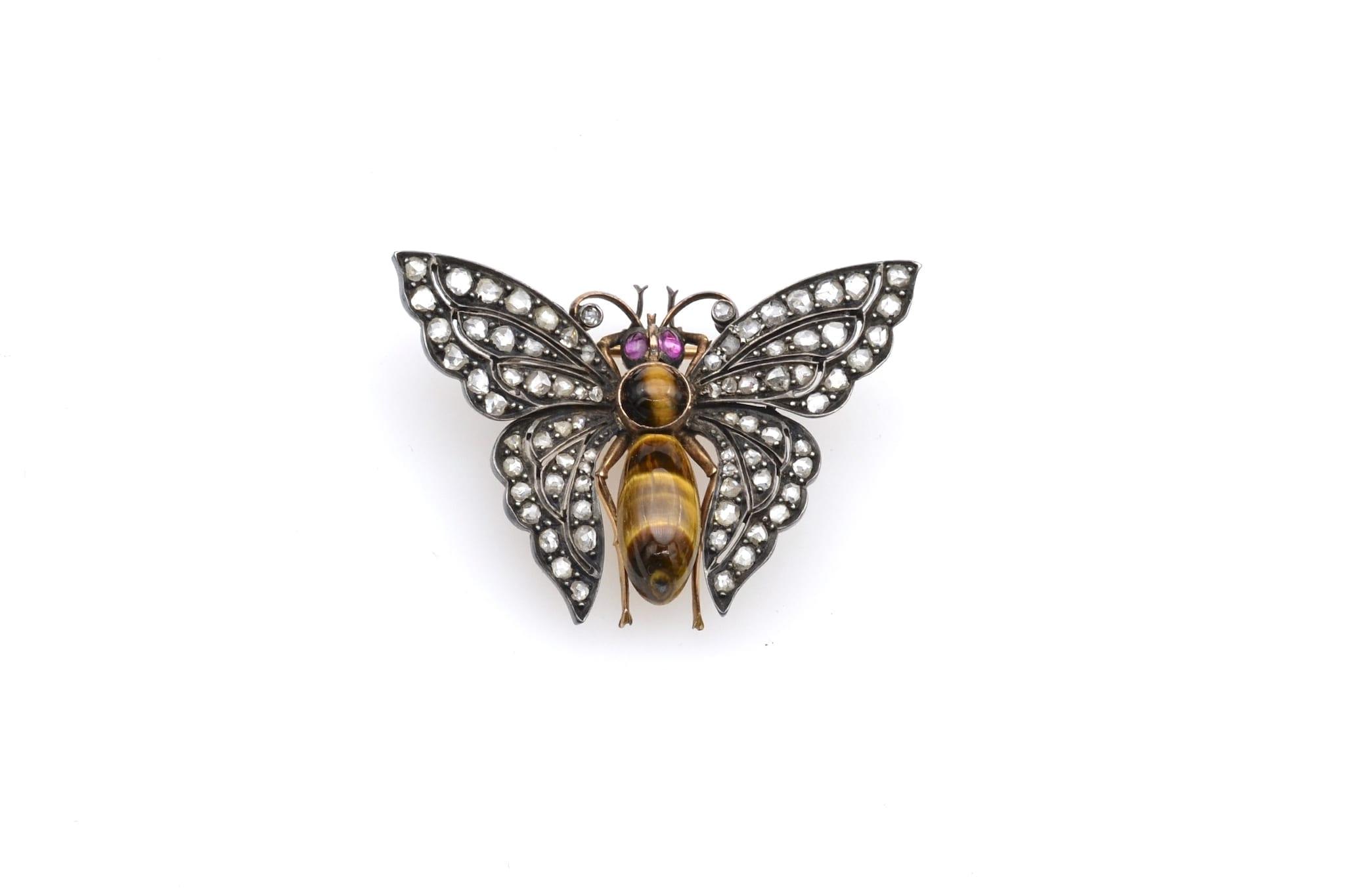 Broche papillon ancienne du 19e siècle
