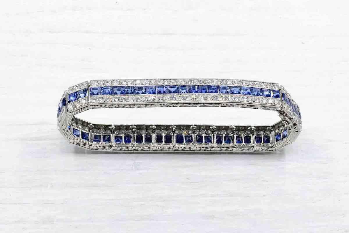 bracelet art déco rivière de saphir