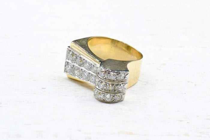 Bague 1940 diamants en or jaune 18k
