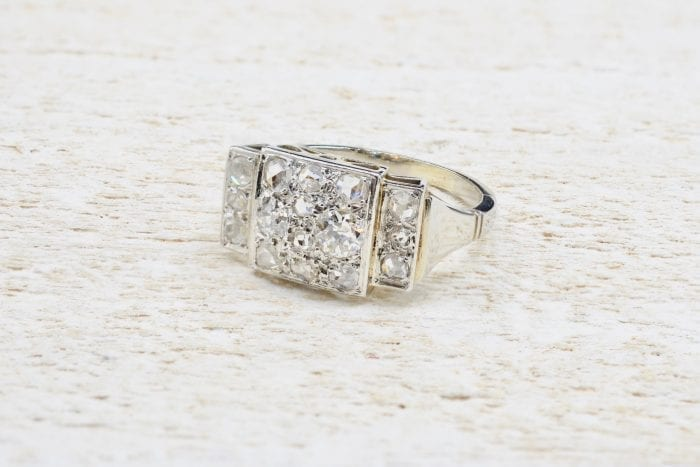 Bague diamants ancienne en platine