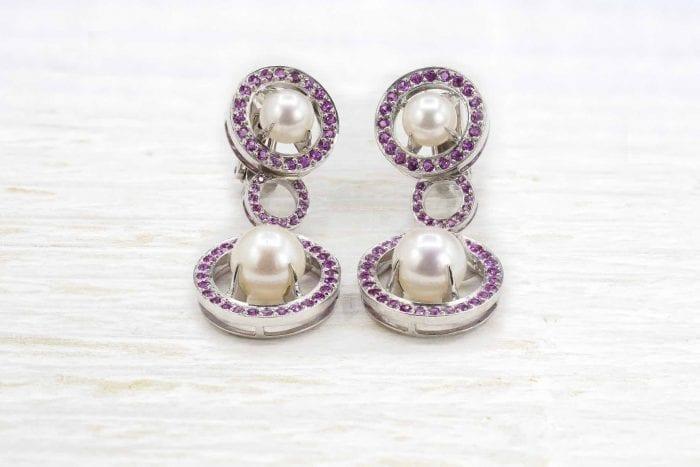 Boucles d'oreilles saphirs roses et perles de culture en or 18k