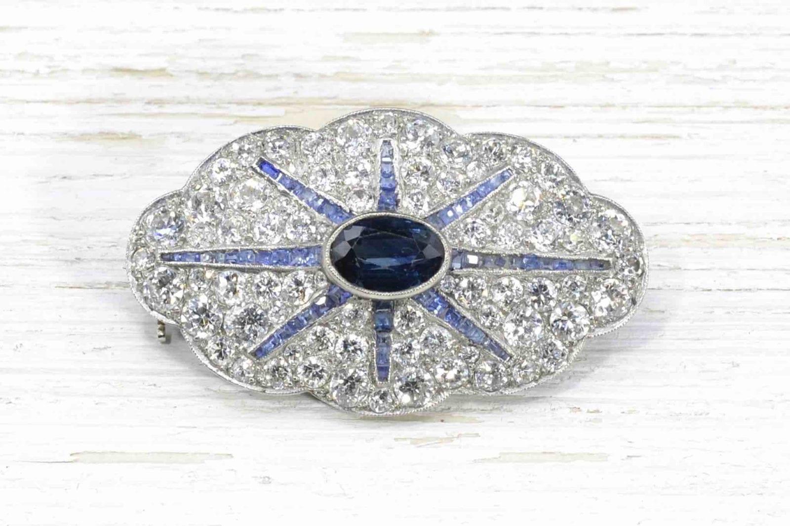 Broche ancienne saphir et diamants