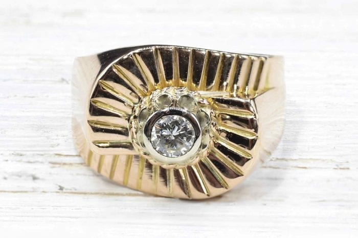 Bague 1950 diamant en or jaune 18k