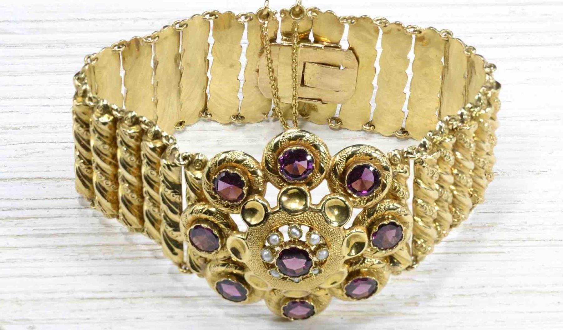 Bracelet grenats en or jaune 18k